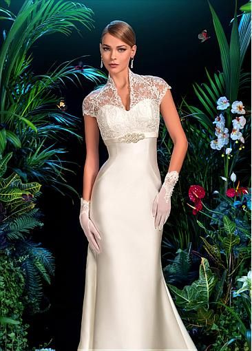 Delicate Satin V-neck Neckline Empire Waistline Mermaid Wedding Dress With  Appliques