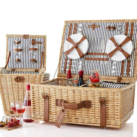 darling rolling wicker picnic basket