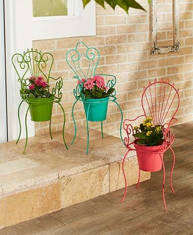 Add a burst of color to your garden with this Vintage-Inspired Chair Planter. It features an intricate scrollwork design with a planter (approx. 6-1