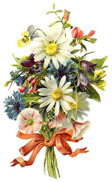 Sweet bouquet tied with ribbon: