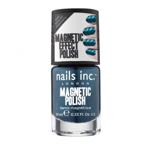 WHITEHALL MAGNETIC POLISH by Nails Inc - This unique formula has been specially developed with metallic particles to create a pattern on the nail using magnetic forces. As the magnet is held over the nail, the iron powder in the formulation gravitates toward the magnet forming the pattern/design secretly hidden in the magnet for an astonishing finish!