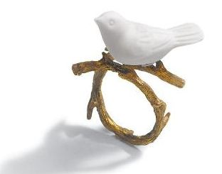 Lladro's Magic Forest Collection white ceramic bird ring