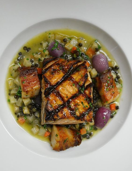 Mustard-Glazed Salmon With Lentils Recipe — Dishmaps