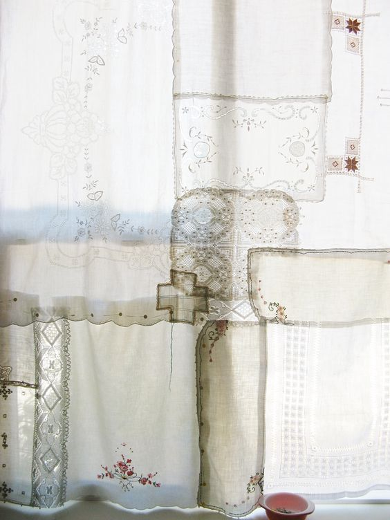 Patchwork curtain with vintage lace and linens