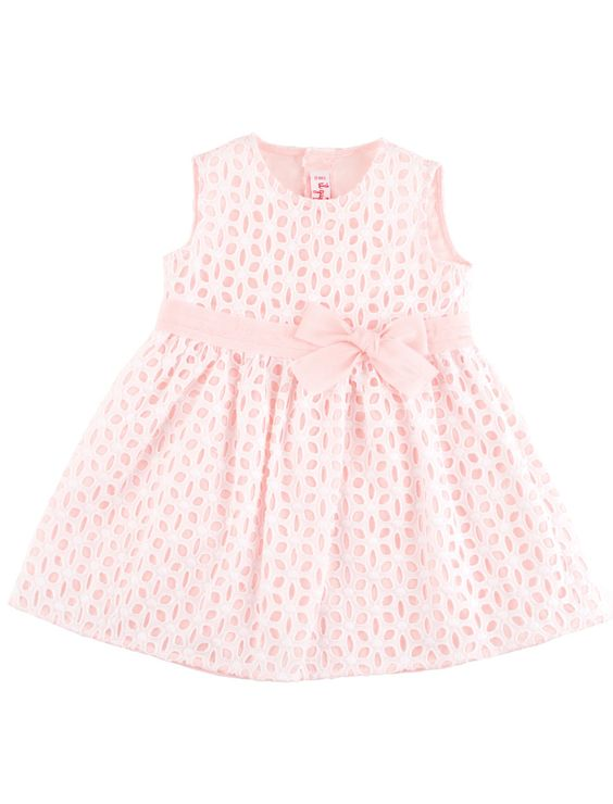 Embroidered baby dress with bow  http://petitchic.com/new-arrivals/il-gufo/broderie-jurkje-met-strikje