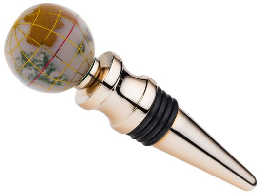 Gemstone Globe Gold Tone Wine Bottle Stopper With Opal Opalite Color O