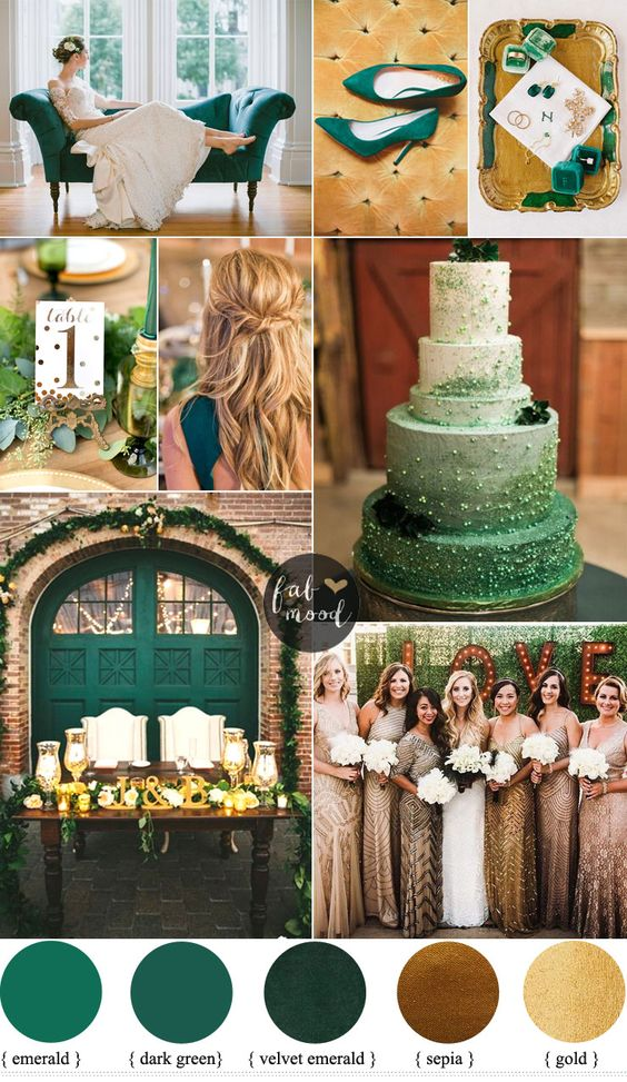 Getting married at library a vintage-themed wedding might be right for youconsider Emerald and Gold Wedding Colour :We suggest a colour scheme of enchantin