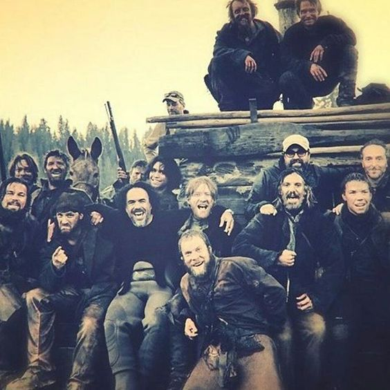 Tom Hardy and the Cast of The Revenant   Photo Credit: @obviiii