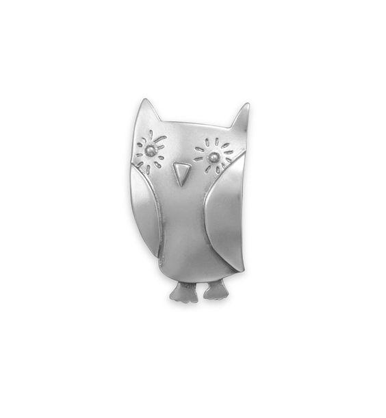 Oxidized Owl Pin/Pendant