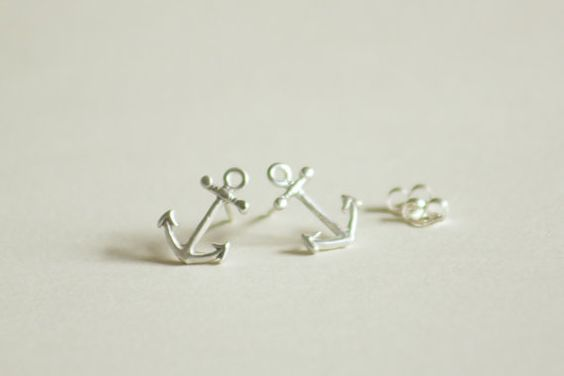 Anchor Stud Earrings, Sterling Silver Studs,