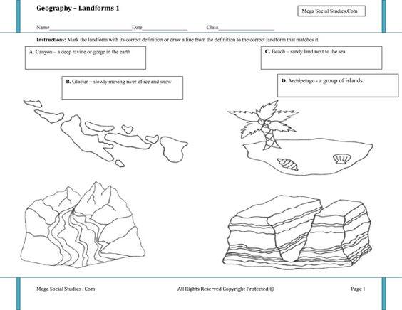 math worksheet : printable landform worksheets  landforms for kids  canyon  : Kindergarten Geography Worksheets