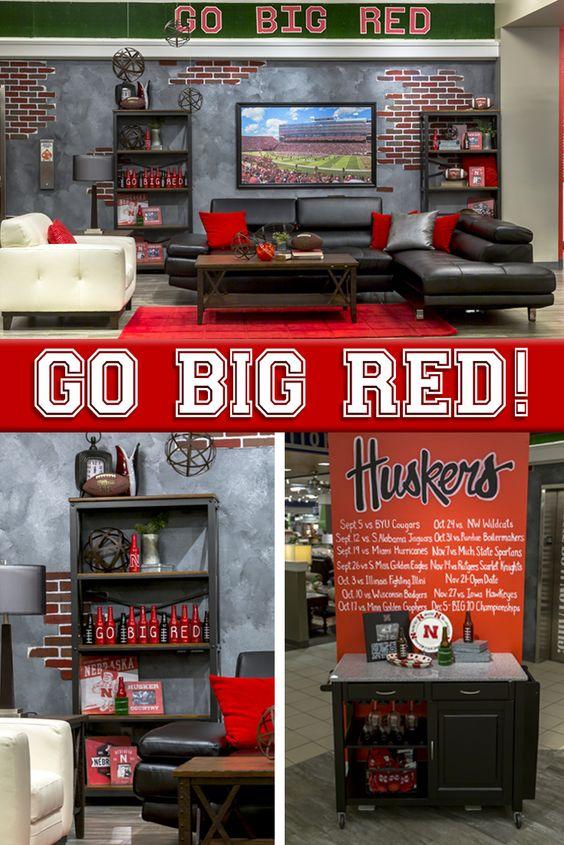 Husker Man Cave Ideas : Football nebraska furniture mart and red a on pinterest