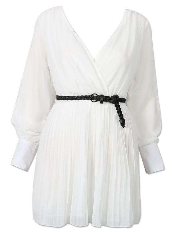 White Tie Backless Belt Waist Pleat Detail Wrap Dress | Choies