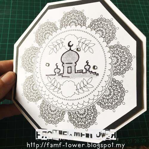 Hari Raya Card Eid Mubarak Card Syawal Card Kad Hari Raya Diy Diy Card Using Colouring Pages Or Colouring Book Paper Craft Projects Card Templates Cards
