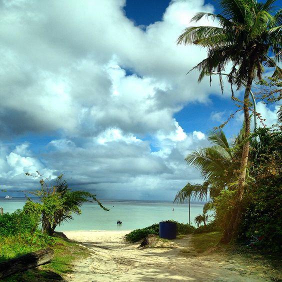 緑と青空とグアムの海