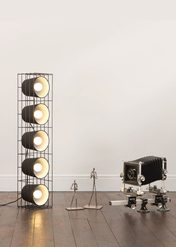 Ozzy Floor Lamp, in Black. A striking statement lamp, inspired by stereo speakers. £79. MADE.COM