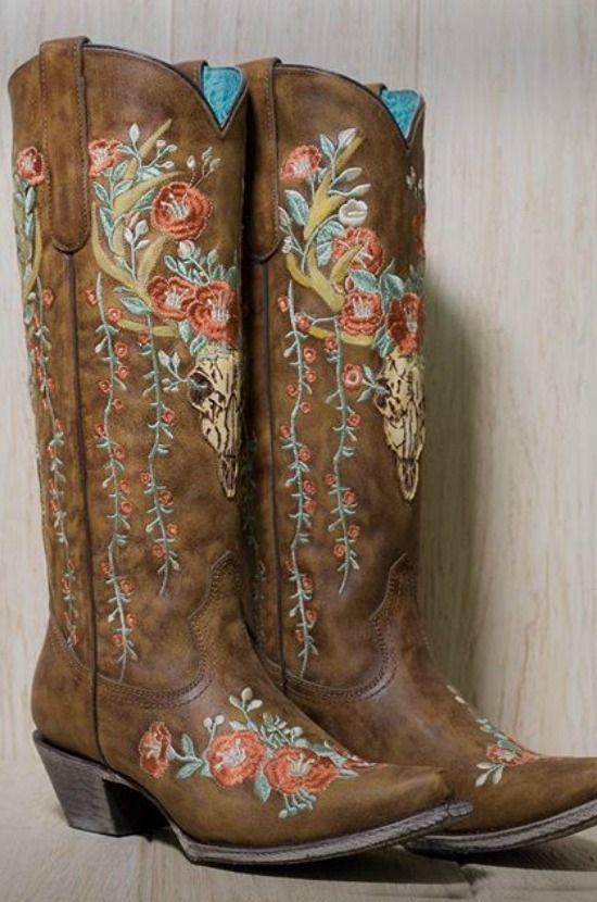 corral boots deer skull