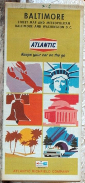 http://ajunkeeshoppe.blogspot.com/  ROAD MAP 1968 Atlantic Richfield Baltimore & Washington  DC Area Streets