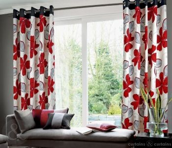 Honolulu Eyelet Luxury Lined Red Curtain | Floral, Red curtains ...