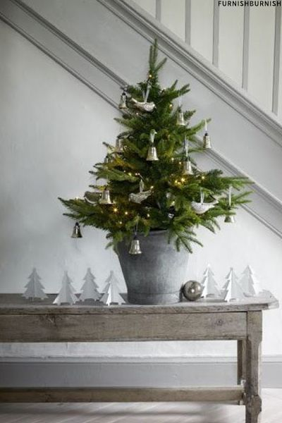 Christmas decor with simple christmas tree