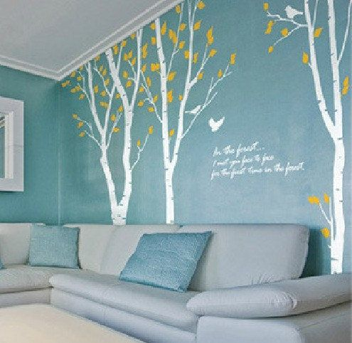 Les enfants de bouleau arbre wall decal mur autocollant for Pochoir arbre