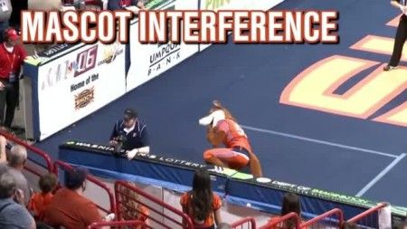 Mascot gets called for pass interference