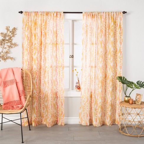 Ikat Sheer Curtain Panel Amber Yellow 95 Opalhouse With