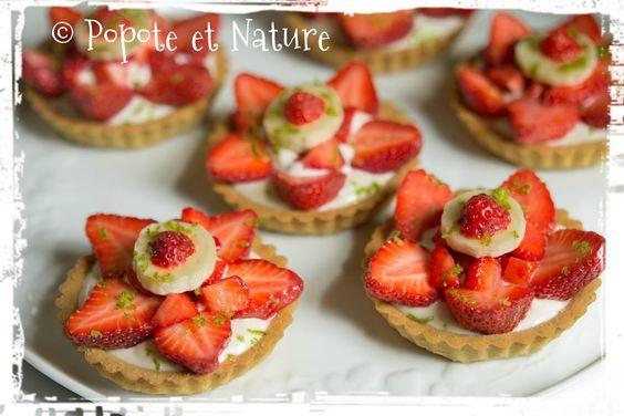 © Popote et Nature - Tartelettes aux fraises et au fromage blanc avec une note de citron vert et de banane