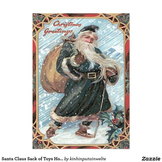 Santa Claus Sack of Toys Holly Winter Storm 5x7 Paper Invitation Card