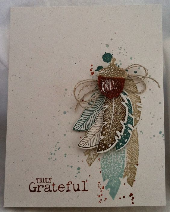 Stamps: Four Feathers & Truly Grateful Ink: Soft Sky, Lost Lagoon, Cajun Craze, Crumb Cake & Soft Suede Paper: Naturals White Misc: Linen Thread, Feather Framelits & Dimensionals:
