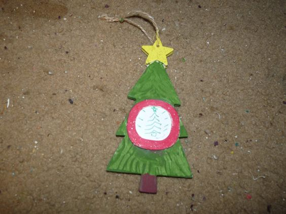 Christmas Tree ornament wooden hand painted by LabArcDesigns, $5.00