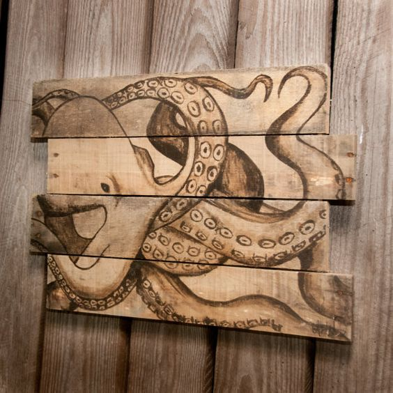 Octopus on Reclaimed Pallet Wood! Perfect for ANY Beach Home Decor! by SimplyPallets