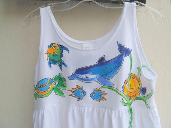 Handpainted Sealife Dress for Girls by DeborahWillardDesign