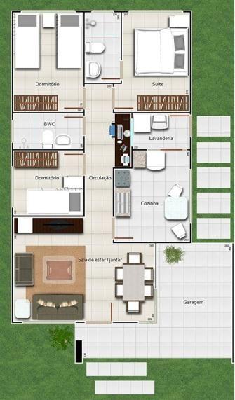 """008 Casa mediterranea de 93 m2 y 3 dormitorio.   Un curioso y moderno plano de casa mediterránea a continuación para ver y pensar en el plano de mi casa que quiero y sueño. Tiene un total de 3 dormitorios, uno de ellos es el principal en """"Suite"""" Las demás habitaciones comparten cuarto de baño con el resto de la casa, ademas se tiene un espacio de lavandería, cocina amplia, living y comedor. Pero como les mencionaba antes, lo mas destacable de este plano de casa, es su llamativa fachada."""