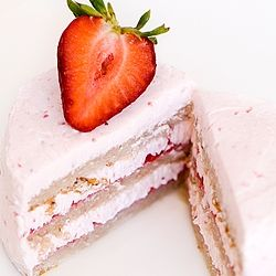 Strawberry chiffon and buttercream cake | Cakes - Strawberry ...