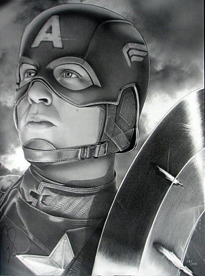 CAPTAIN AMERICA Ltd Ed PRINT #12/100 SIGNED SMITH