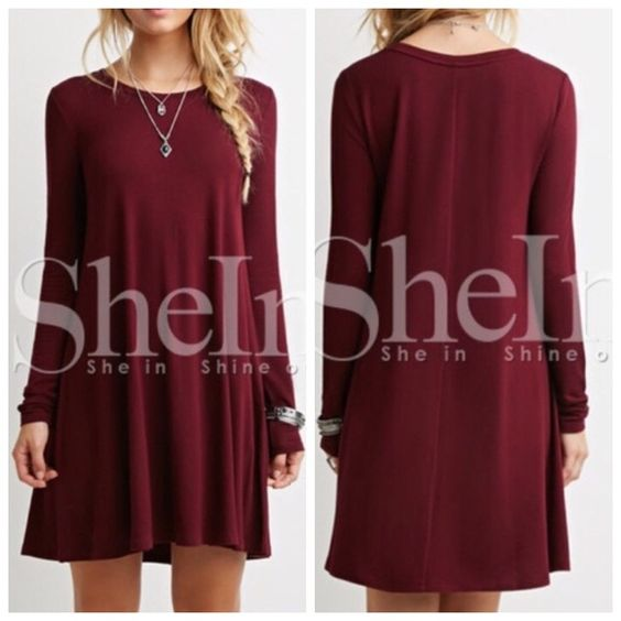 """Burgundy Babydoll Dress Brand new, never worn burgundy long sleeve casual babydoll dress. Online order so no tags. Lighter red burgundy than shown on the model in the first photo. Size medium but runs large. (NOT ASOS)  Price is firm unless bundled!    Bust: 35"""" Length: 33.5"""" Sleeve from top of shoulder: 24"""" ASOS Dresses Long Sleeve"""
