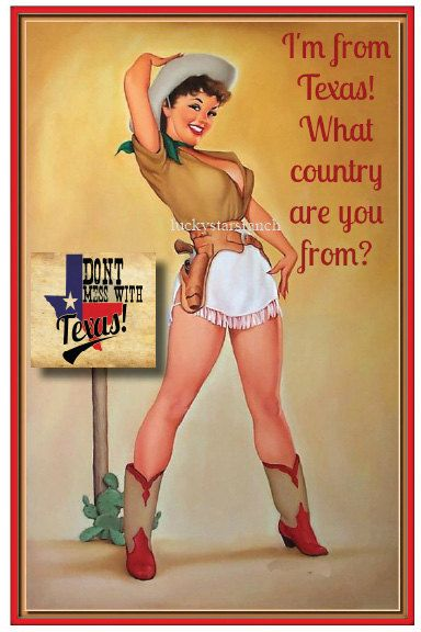 Cowgirl Cards - I'm From Texas - What Country Are You From? 5x7 Blank Inside