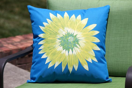 Throw Pillow  with Hand Painted Daisy by ShellyJackHandmade, $50.00