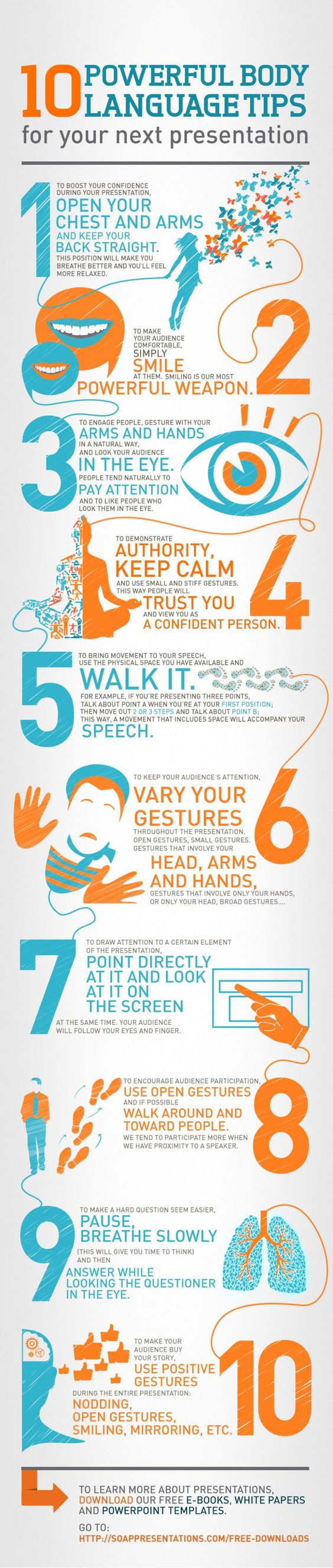 Some good 'body language' tips here for next time you need to stand up and talk in front of people or give a presentation [infographic]
