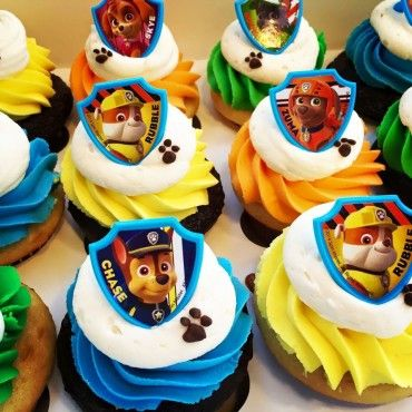 Paw Patrol Cupcakes!  Get rings from bonanza.com  $11 order 4 weeks in advance:
