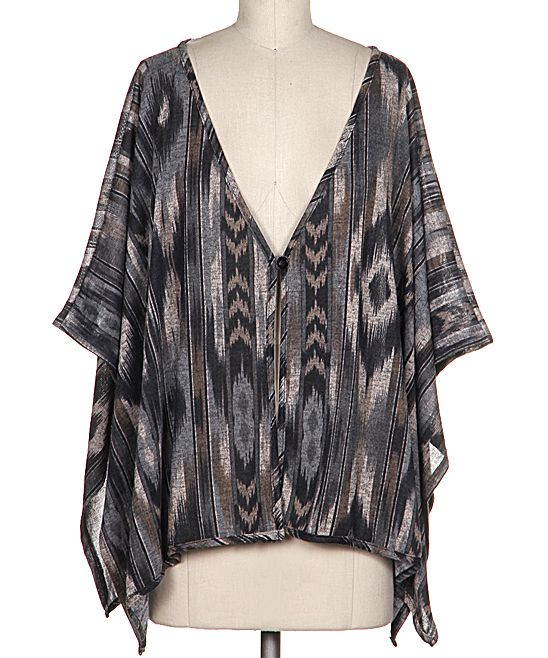 Gray Tribal Knit Button Cardigan | zulily