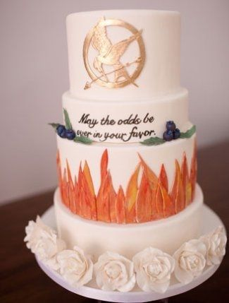 Yes, this is indeed a Hunger Games wedding cake.  Cake | Pinterest