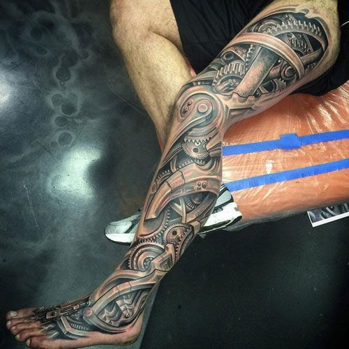 125 Best Leg Tattoos For Men Cool Ideas Designs 2020 Guide Biomechanical Tattoo Tattoos For Guys Badass Leg Sleeve Tattoo
