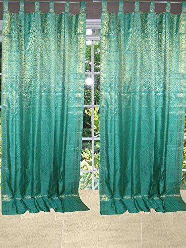Green Curtains amazon green curtains : 2 Indian Curtains Persian Green Golden Brocade Silk Sari Drapes ...