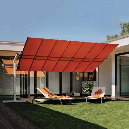 Fim Flexy 8x16 Freestanding Dual Post Umbrella Small Balcony Design Pergola Plans Design Aluminum Awnings