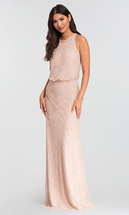 Long Adrianna Papell Bridesmaid Dress In Blush Pink Blush Bridesmaid Dresses Long Blush Pink Bridesmaid Dresses Pink Bridesmaid Dresses Long