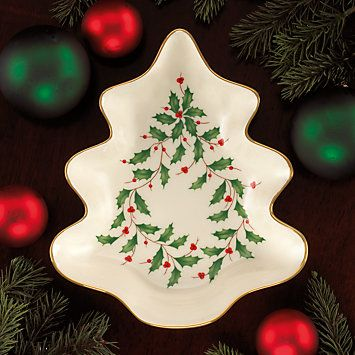 Shaped like a Christmas tree this candy dish is decorated with