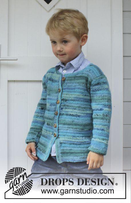 """Crochet DROPS jacket in """"Fabel"""". Size 3 - 12 years. ~ DROPS Design:"""