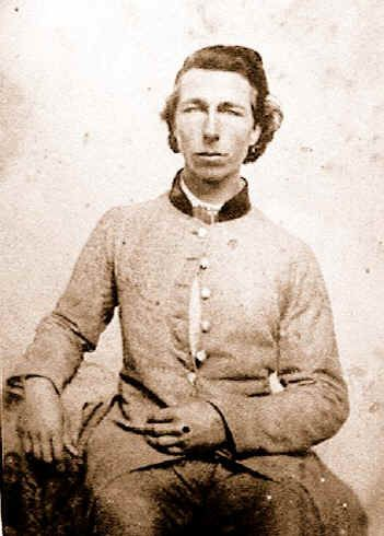 """Nathaniel Green """"Devil Horse"""" Rieves, Company H, 1st (Feilds) Tennessee Infantry. Wounded at Murfreesboro. Promoted to corporal."""